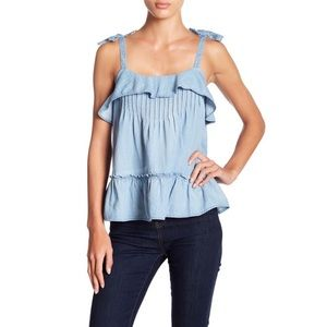 Melrose and Market | Pintuck Ruffle Chambray Tank